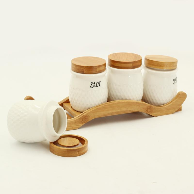 4 Pcs White Spices Set on Wooden Stand