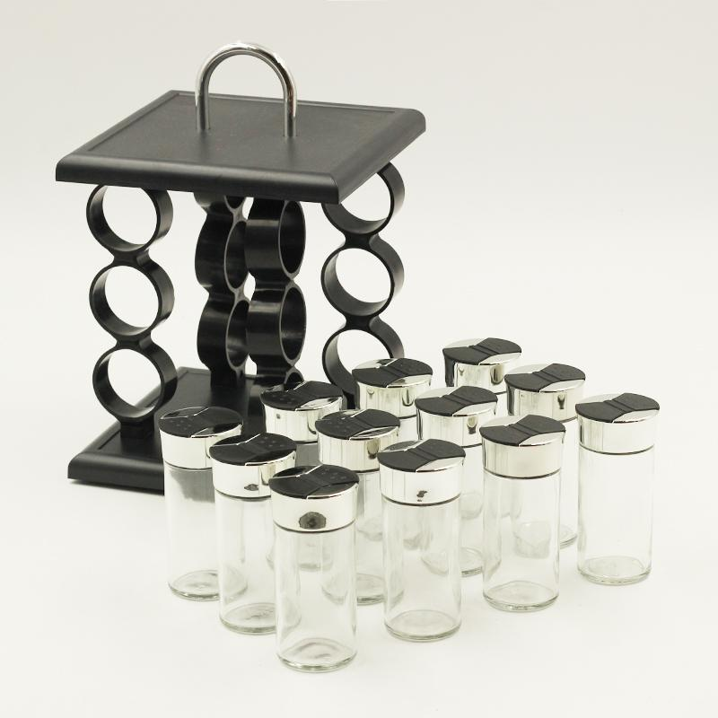 12 Pcs Spice Rack Square Black