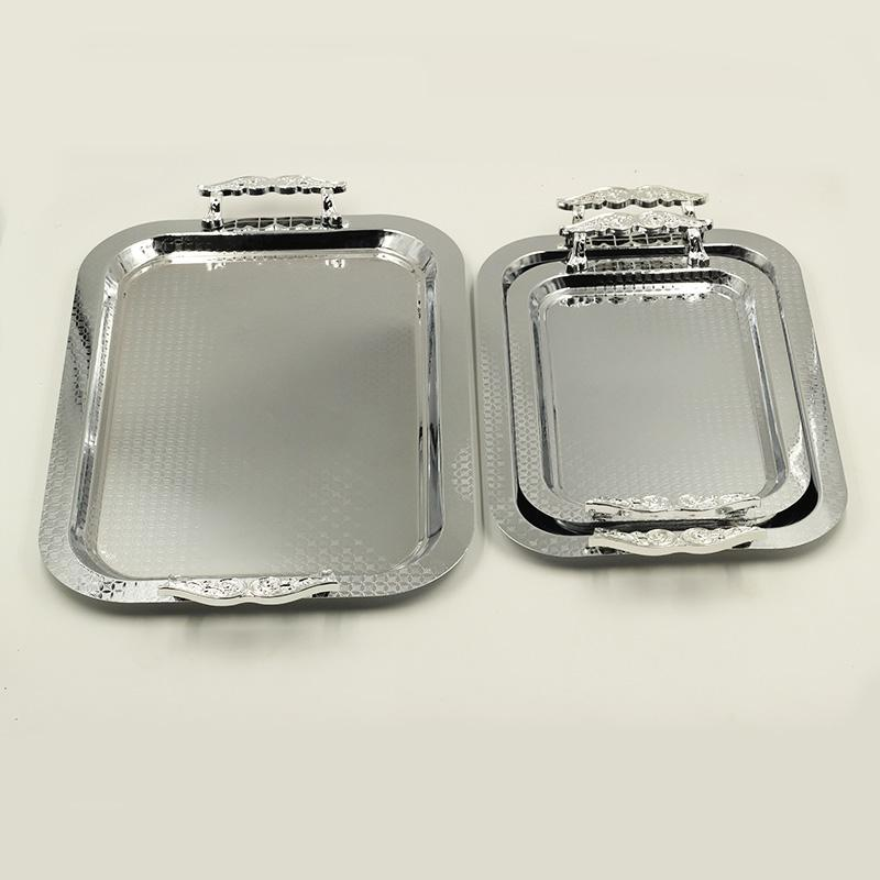 3 Pcs Decor Stainless Steel Serving Trays 24*33.5/29.5*41/35*50 cm