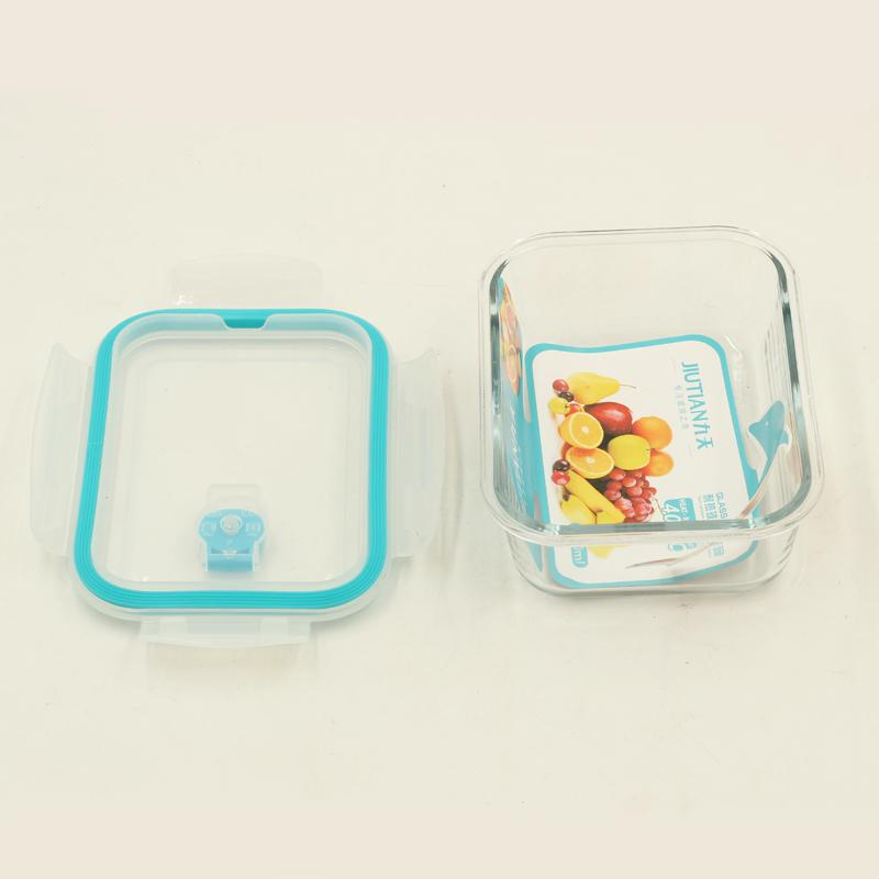 Tempered Glass Reusable Rectangular Food Container with Airtight lid 650 ml