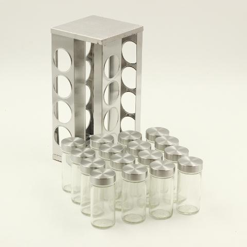 16 Pcs Spice Rack Square Silver