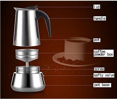 4 Cup Stainless Coffee Maker Stove Top