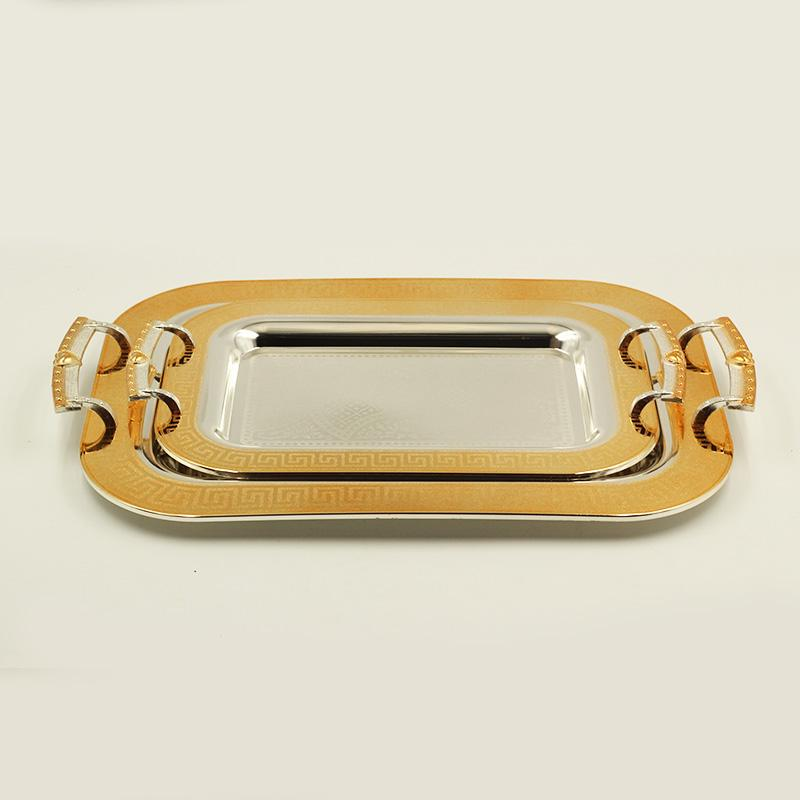 2 Pcs Decor Stainless Steel Serving Trays 25.5*35.5/35*46 cm