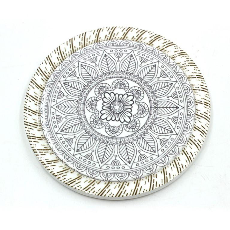4 Pcs Moisture Resistant Round Cup Coasters Drink Coasters Heat Insulation Random Patterned 10.8 cm