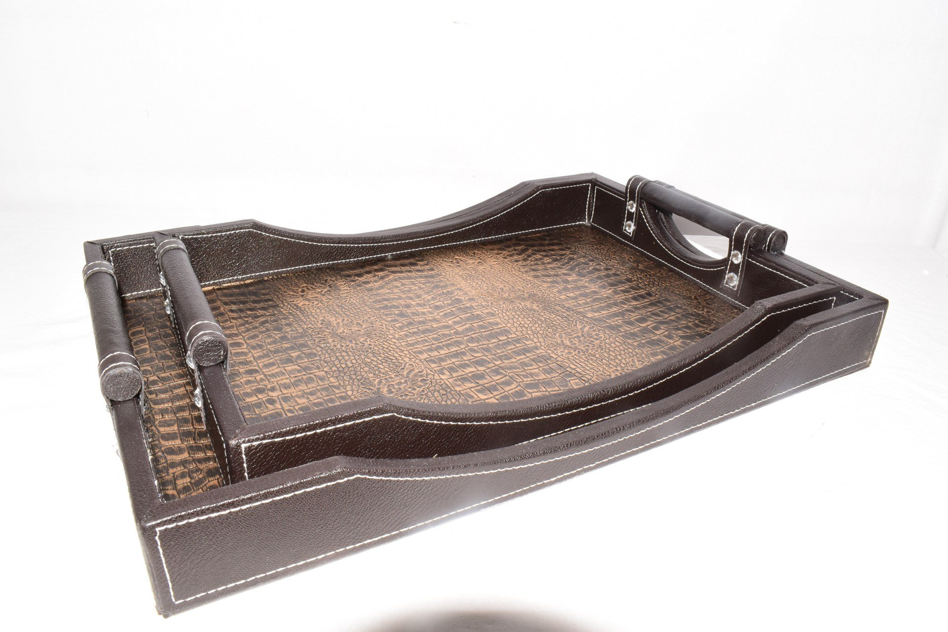 2PC Leather Tray 49*35/42*30 cm