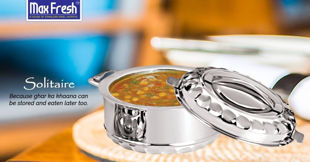Stainless Round Hot Pot Solitaire 1000ml