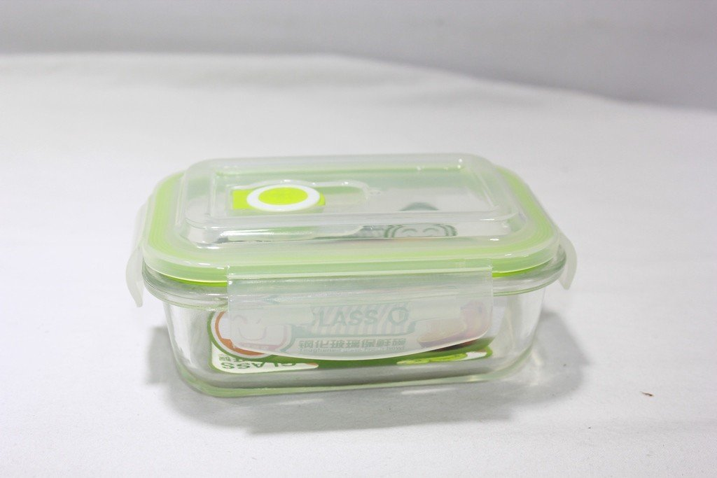 Tempered Glass Reusable Rectangular Food Container with Airtight lid 400 ml
