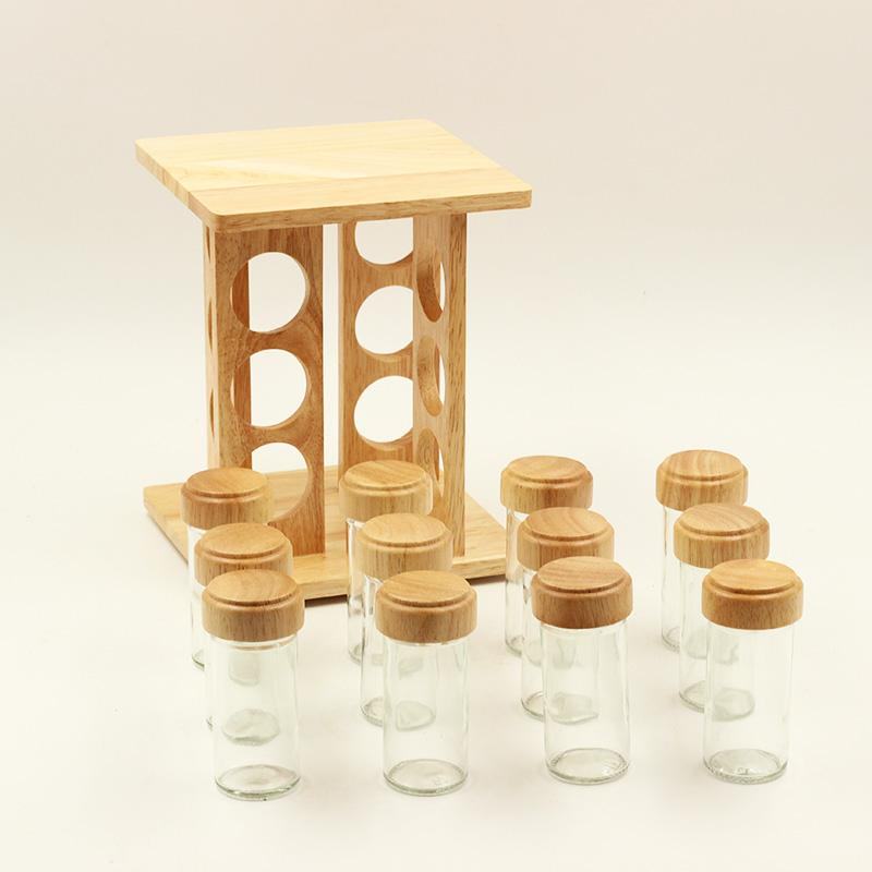 12 Pcs Wooden Square Spice Rack Set