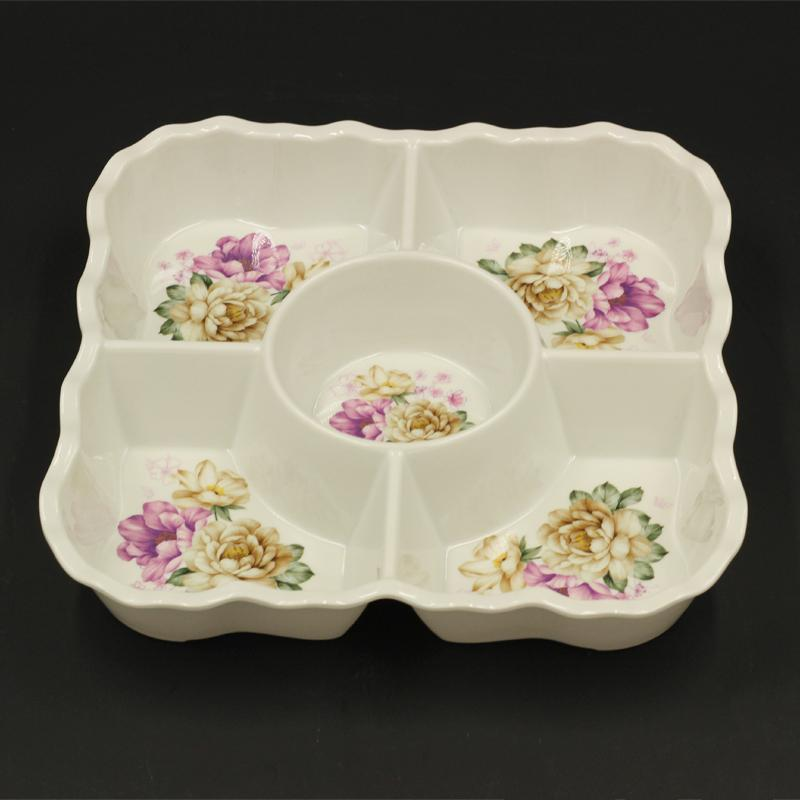 Coloured Melamine Divided Plate 27*26.5*5 cm