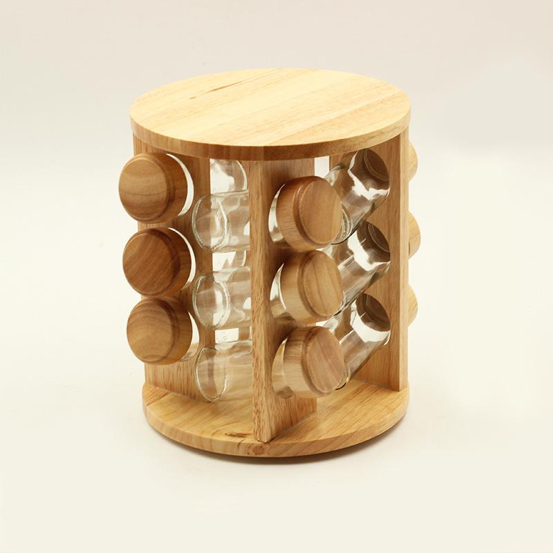 12 Pcs Wooden Round Spice Rack Set