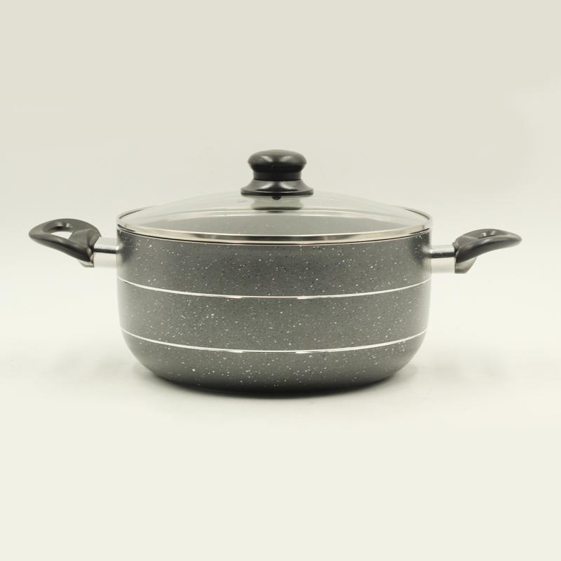 Saucepot Grey Marble Coating Non Stick 22 cm 3.5mm