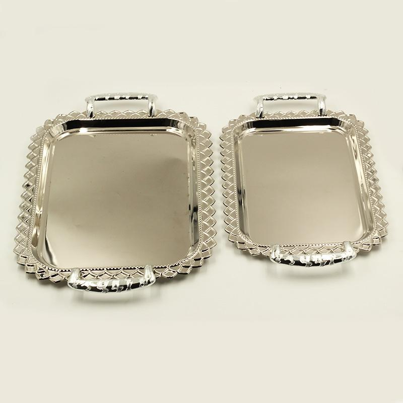 2 Pcs Oval Stainless Steel Decor Serving Tray Set 30.5*41/37*49 cm