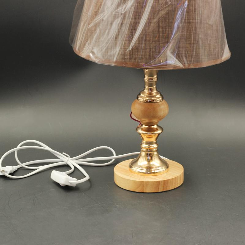 Bedside Reading Table lamp Wooden Base Grey Shade 44/16*21.5*25 cm