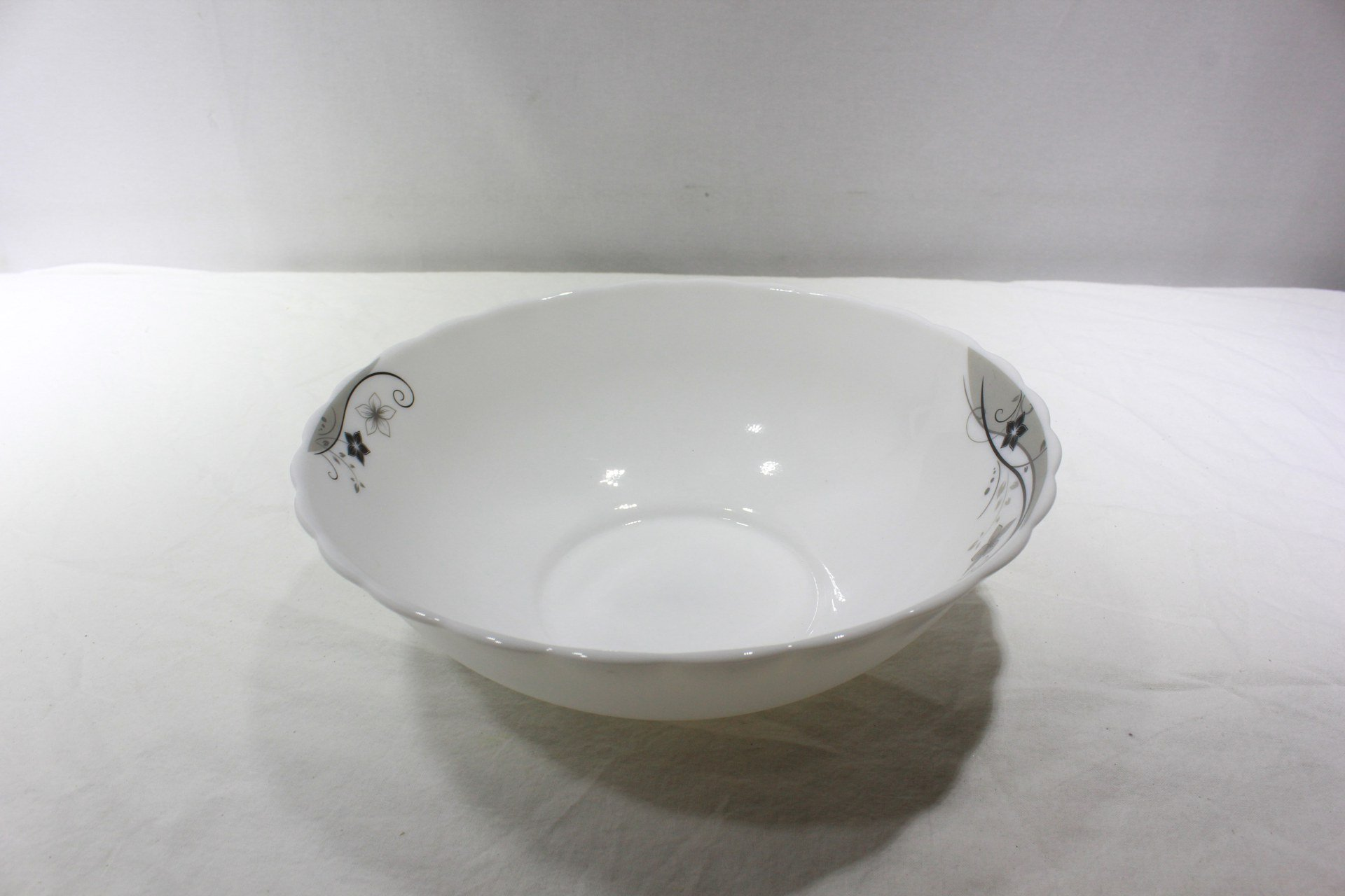 10 inch Bowl Plate Arcopal Glass Black Flowers